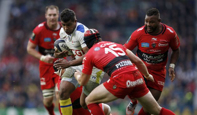 Clermont's French centre Wesley Fofana (3rd R) in action during the European Rugby Champions Cup rugby union final match between Clermont and Toulon at Twickenham Stadium, south west of London on May 2, 2015. AFP PHOTO / ADRIAN DENNISADRIAN DENNIS/AFP/Getty Images