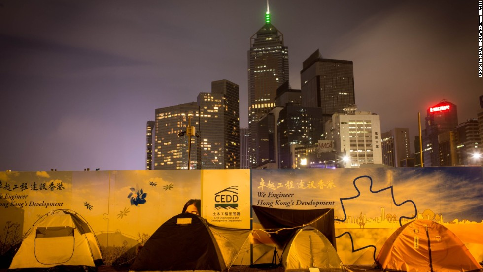 Few pro-democracy activists tents remain on the road outside Hong Kong's Government Complex on December 9.