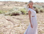 "Bohemian Wedding Dress Cap Sleeve Cut Out Crochet Lace Bridal Gown - ""Lennox"""