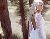 "Vintage Inspired Wedding Dress Backless 70s Eyelash Lace Ivory Cream Lace White Long Sleeve Bohemian Low Back - ""Tessa"""