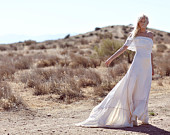 "Bohemian Wedding Dress 1970s Hippie Bohemian Gown Silk Ivory Off The Shoulder Lace Ruffle Trim - ""Casablanca"""