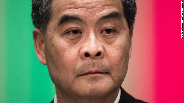 Hong Kong's Chief Executive Leung Chun-ying attends a press conference in Hong Kong on July 15, 2014.