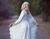 "Bohemian Wedding Dress Hippie Bohemian Gown Cream Ivory Chiffon Kaftan Crochet Lace - ""Tatum"""