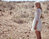 "Bohemian Bridal Dress Short Lace Cream Off White Ivory Baby Doll - ""Ada"""