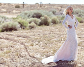"Long Sleeve Bridal Gown Ivory Lace Vintage Bohemian Wedding Boho Gown Dress - ""Barlow"""