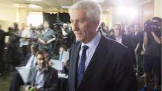 Gilles Duceppe arrives at press conference where he announced he was returning as head of the Bloc Québécois.