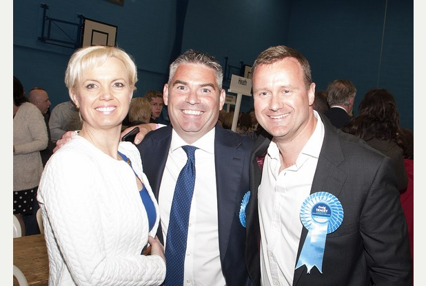 Mr Tracey, pictured centre with wife-to-be Karen and former MP Dan Byles, stormed to victory at last week's General Election, ousting bookies' favourite and Labour represetative Mike O'Brien by 2,973 votes.