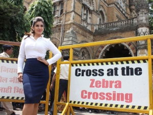 Actress Raveena Tandon takes part in an awareness campaign for using helmet  at CST...