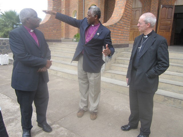 In-the-Middle-is-The-Rt--Rev--Dr--Laurent-Mbanda-explains-to-the-Archbishop-of-Cantebury-and-the-Archbishop-of-Rwanda-Onesphore-Rwaje-about-different-projects-in-the-diocese-_Photo-by-Eugene-Mutara-Rugamb