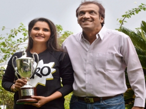 Sania Mirza along with her father Imran Mirza...