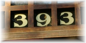 Gold house numbers on glass by Frank Smith Signs, Albany NY