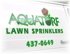 Aquaturf van lettering by Frank Smith Signs, Albany NY