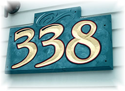 hand carved house number sign by Frank Smith Signs, Albany NY