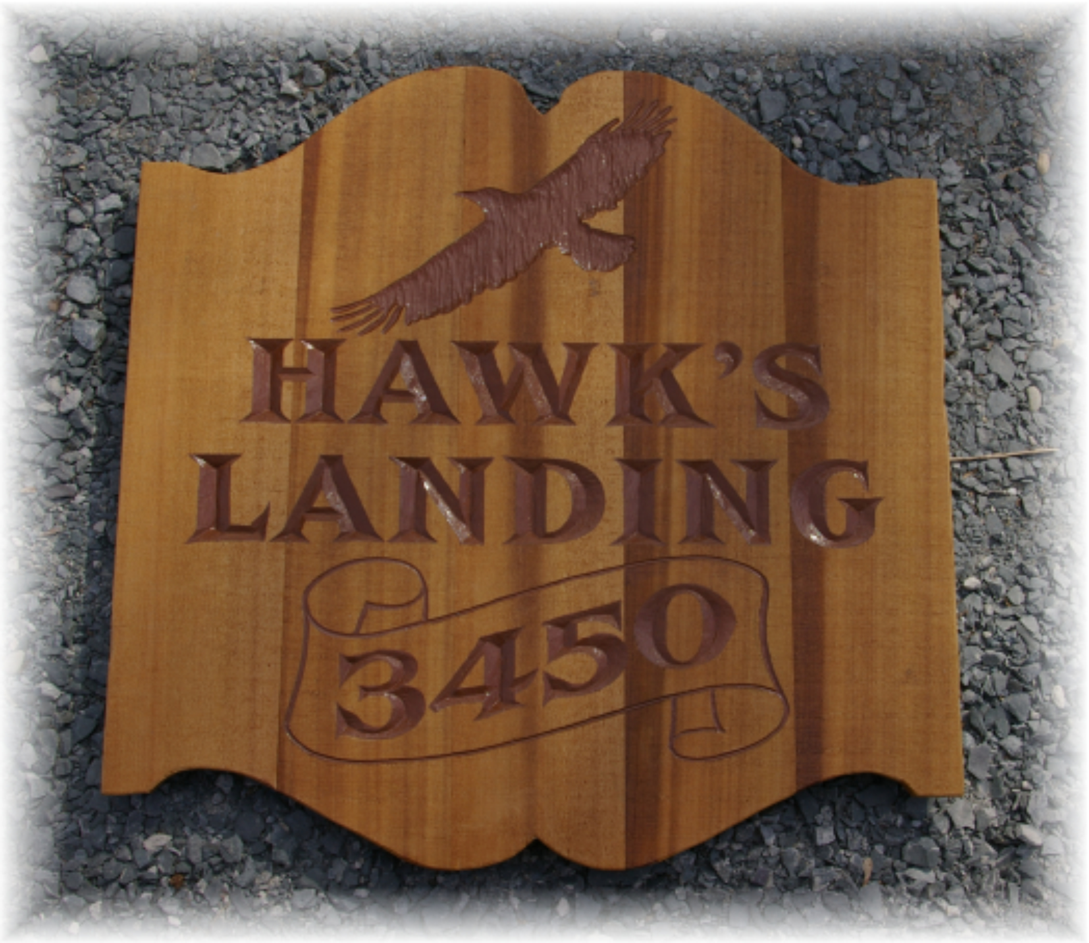 Hand carved cedar sign with rough finish by Frank Smith Signs, Albany NY