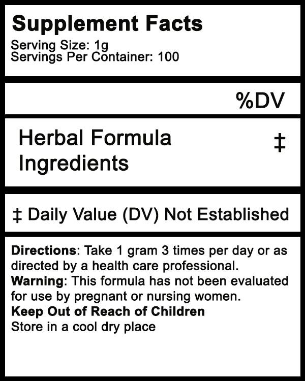 herbal supplement powder label