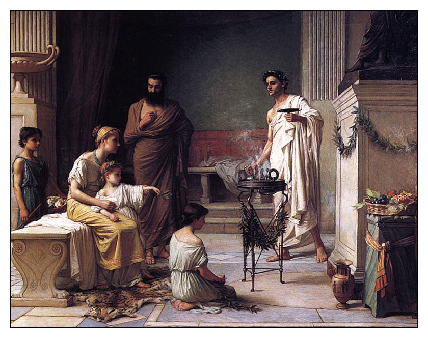 """John W. Waterhouse, """"A Mother Bringing her Sick Child to the Temple of Asklepios"""", 1877 (Image in public domain)"""