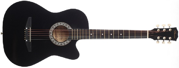 DBZ T21F-BK Acoustic Guitar Spruce Top Gloss Black Finish
