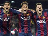 (L-R) Barcelona's Luis Suarez, Neymar and Lionel Messi celebrate a goal against Atletico Madrid during their Spanish First Division soccer match at Camp Nou stadium in Barcelona January 11, 2015.  REUTERS/Albert Gea (SPAIN - Tags: SPORT SOCCER) - RTR4KYRV X01398