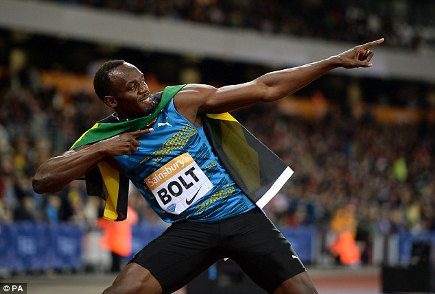 Jamaican sprinter Bolt shows off his customary celebration following Friday's victory in east London