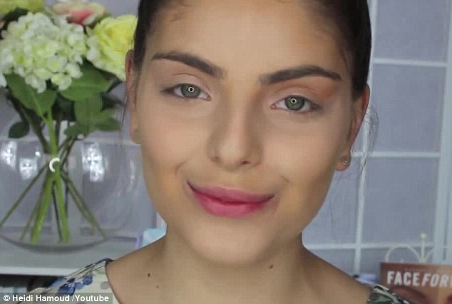 Perfect base: Miss Hamoud applied colour-based concealers, foundation and concealer under her eyes for a 'flawless' foundation look