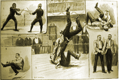 """""""Fencing and Bartitsu at the Bath Club"""" - from the Illustrated Sporting and Dramatic News.  Captain Alfred Hutton and W.H. Grenfell demonstrate rapier and dagger fencing, while E.W. Barton-Wright displays Japanese unarmed combat."""