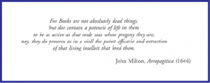 Motto for the Catalogue with quote from John Milton, 'Areopagatica' (1644)