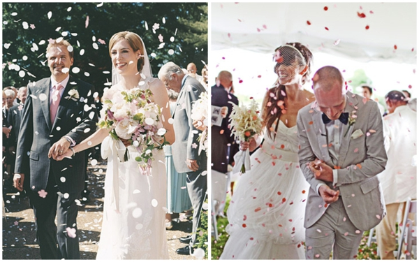 wedding confetti toss, wedding recessional toss, sendoff, bride and groom exit, getaway