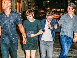 August 2, 2015:  The cast of Fantastic Four all smiles as they step out for dinner together in New York City. Pictured here: Kate Mara, Michael B. Jordan, Miles Teller, Jamie Bell, Keleigh Sperry Mandatory Credit: papjuice/INFphoto.com Ref: infusny-285