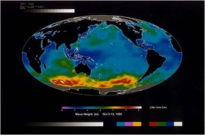 Credit: Wind makes waves, so it's no surprise that the biggest waves are in the windiest places. This image of wave heights around the world was snapped from space by the TOPEX/Poseidon satellite in 1992. The red and yellow areas show that wave hotspots occur in places like the Roaring Forties where the winds are strongest. Photo courtesy of NASA Jet Propulsion Laboratory (public domain).