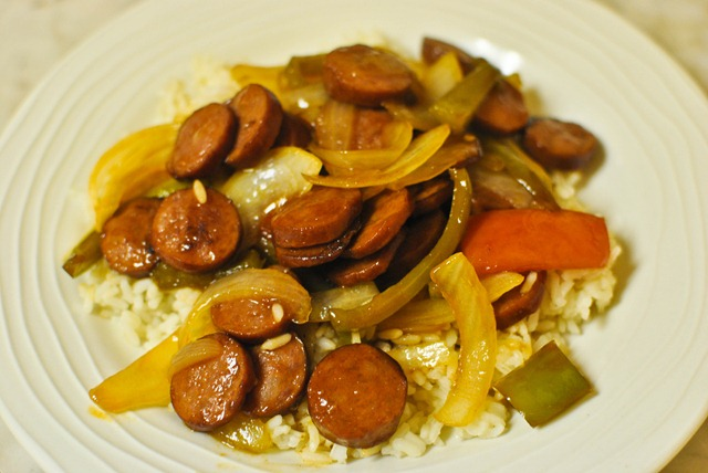 Sausage peppers and onions recipe with rice