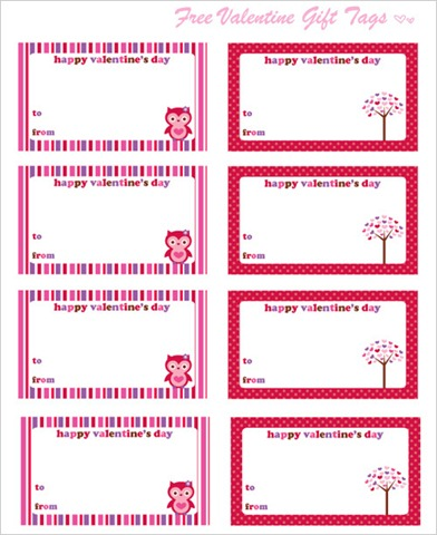 Valentines day owl tags printable