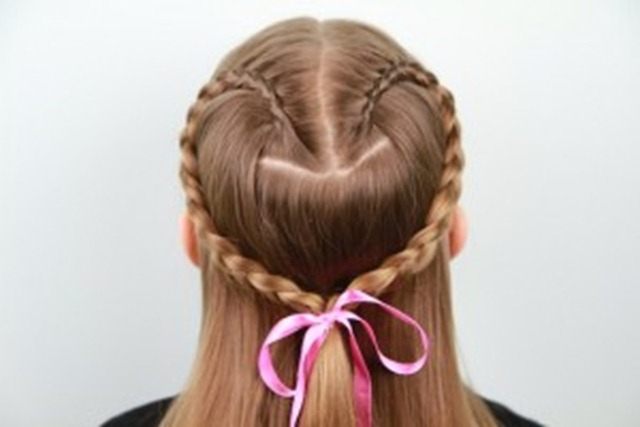 Valentines day heart hairstyle braid