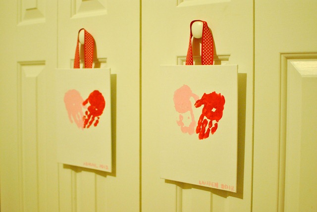 Valentines Day handprint heart canvas
