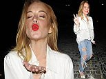 11 Aug 2015 - LONDON - UK  LINDSEY LOHAN SPOTTED AT CHILTERN FIREHOUSE IN LONDON  BYLINE MUST READ : XPOSUREPHOTOS.COM  ***UK CLIENTS - PICTURES CONTAINING CHILDREN PLEASE PIXELATE FACE PRIOR TO PUBLICATION ***  **UK CLIENTS MUST CALL PRIOR TO TV OR ONLINE USAGE PLEASE TELEPHONE   44 208 344 2007 **
