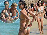 OIC - ENTSIMAGES.COM - NO WEB USE UNLESS FEES AGREED - EXCLUSIVE!!  - Victoria's Secret model Alessandra Ambrosio seen spending time at the beach jet-skiing with her children, Noah and Anja, and with sister Aline and her husband Duda Deboni, in Mykonos, Greece on August 11, 2015. Fees must be agreed prior to publication. Photo Look/ Mavrix Photo Inc/OIC 0203 174 1069