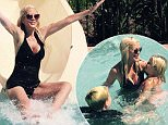 EXCLUSIVE FAO DAILY MAIL ONLINE GBP 40 PER PICTURE\n Mandatory Credit: Photo by Startraks Photo/REX Shutterstock (4938285h)\n Tori Spelling\n Tori Spelling on the Waterslide at La Costa , Los Angeles, America - 10 Aug 2015\n Tori Spelling on the Waterslide at La Costa\n