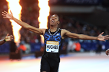 Zharnel Hughes wins the 200m at the IAAF Diamond League meeting in London (Jean-Pierre Durand)