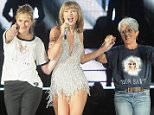 """SANTA CLARA, CA - AUGUST 15:  (L-R) Actress Julia Roberts, Taylor Swift and musician Joan Baez appear together during Swift's """"The 1989 World Tour"""" at Levi's Stadium on August 15, 2015 in Santa Clara, California.  (Photo by John Medina/LP5/Getty Images for TAS)"""
