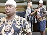 """EXCLUSIVE ALL ROUNDER Tracy Morgan with his fiance Megan Wollover and his daughter Maven Sonae Morgan are seen shopping at """"Jitrois"""" and """"Christian Louboutin"""" on Madison Avenue in New York\n16 August 2015.\nPlease byline: Vantagenews.co.uk"""
