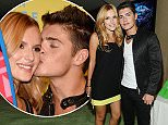 LOS ANGELES, CA - AUGUST 16:  Actress Bella Thorne and actor Gregg Sulkin pose in the green room at the 2015 Teen Choice Awards at Galen Center on August 16, 2015 in Los Angeles, California.  (Photo by Jason LaVeris/FilmMagic)