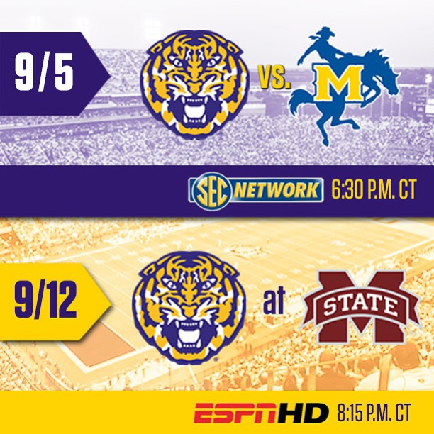 Game times and TV coverage have been set for the first two games of the season: Sept 5 vs. McNeese State at 6:30 pm CT on SEC Network Alternate Sept 12 at Mississippi State at 8:15 pm CT on ESPN. #GeauxTigers