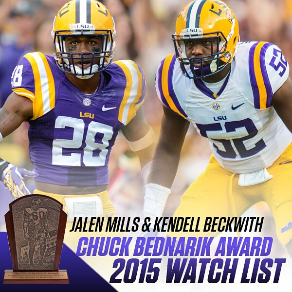 @thereal_jmills and @kbeck_52 have been named to the Bednarik Award watch list. The award is presented each season to the college football defensive player of the year.  More players can be added to the watch list once the season starts.