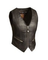 Ladies Zip Front Crop Leather Vest