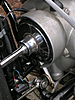 Detail shot showing the driveshaft & shroud of Kevin's 1954 R68 BMW Motorcycle.