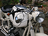Front view where you really see the tank of complete BMW motorcycle 1961 R69S Dover White with original paint 8.6 Heinrich tank,stock 69 camshaft,latest valvetrain developments from Kevin Brooks at BrooksMotorWorks.