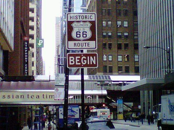 Start of Route 66 on Adams Street in downtown Chicago