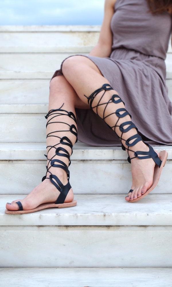 Image of Athena knee-high gladiator sandal