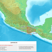 Map showing the location of the Zapotec Civilization, developed in the Pre-Columbian Era in Mesoamer