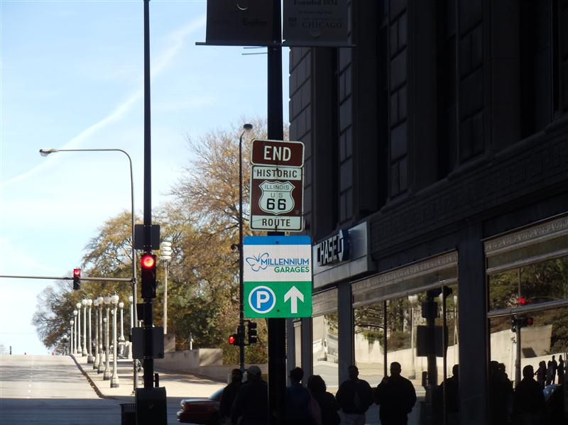 End of Route 66 on Jackson Avenue, Chicago