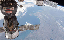 Progress 17 supply vehicle departs from the International Space Station